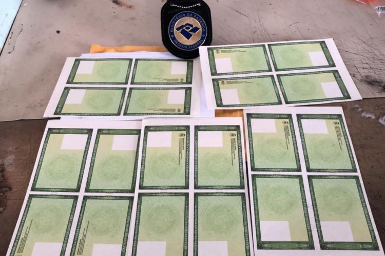 A Receita Federal encontrou 18 documentos, entre carteiras de identidade e de motorista e 20 espelhos em branco do RG em encomendas enviadas pelos correios a Fortaleza (Foto: Foto: Receita Federal)