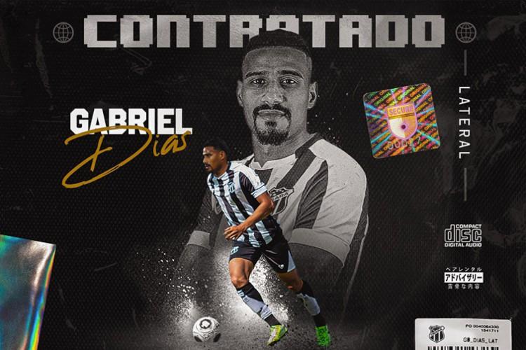 Gabriel Dias é o 11ª reforço anunciado em 2021 e o segundo vindo do Fortaleza (Foto: Divulgação / cearasc.com)