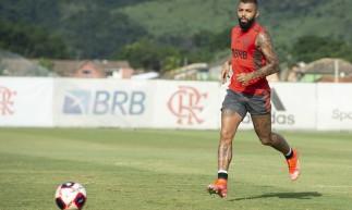 Atacante Gabigol em treino do Flamengo no CT Ninho do Urubu