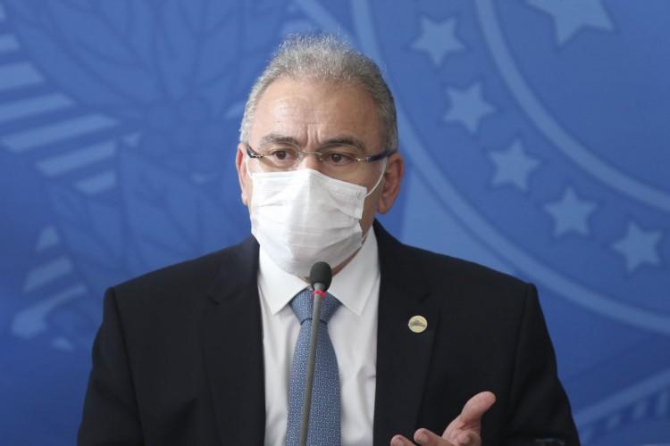 O ministro da Saúde,  Marcelo Queiroga, durante coletiva no Palácio do Planalto (Foto: Fabio Rodrigues Pozzebom/Agência Brasil)