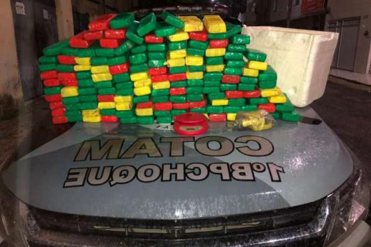 Um total de 149 tabletes de maconha, totalizando 73,5 quilos, foi apreendido no bairro Jardim Iracema (Foto: Foto: Polícia Militar)