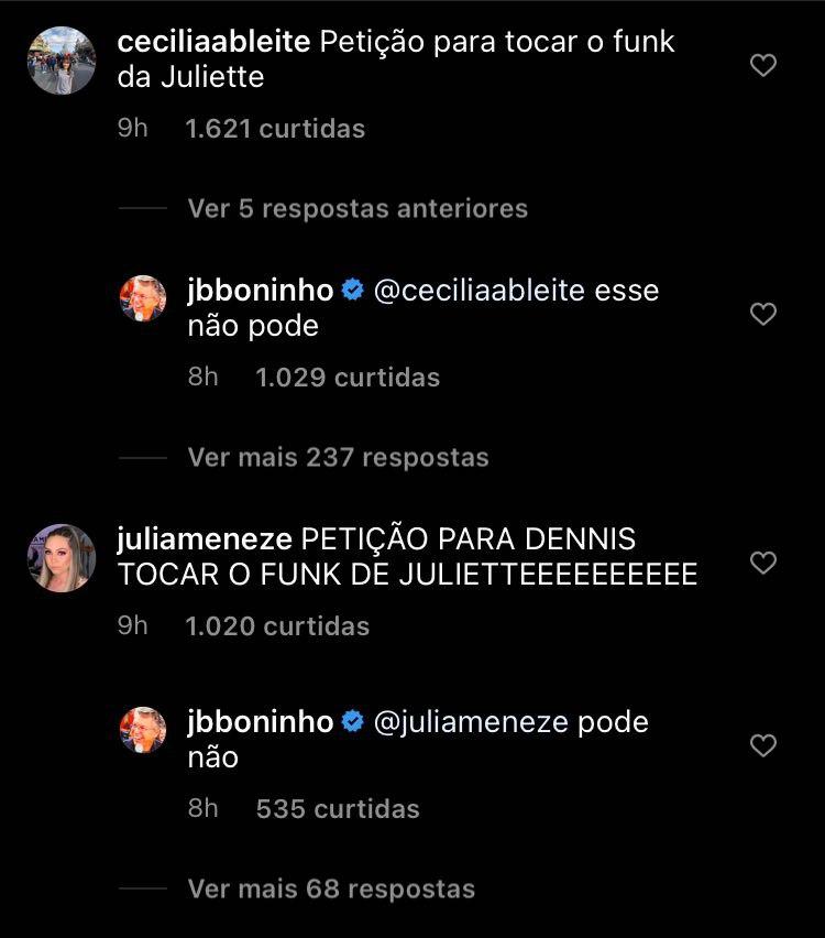"""Em comentários de publicação, Boninho responde fãs sobre inclusão de """"funk da Juliette"""" no repertório da festa desta sexta-feira, 26"""