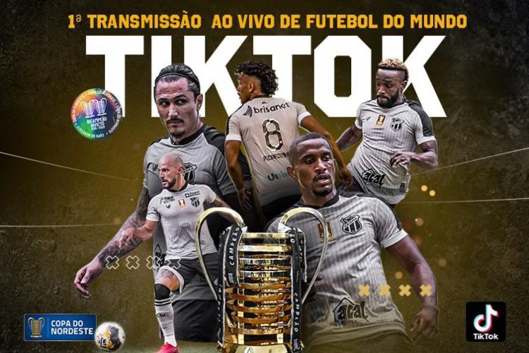 A partida entre Ceará e CSA-AL, pela Copa do Nordeste 2021, terá a primeira transmissão de futebol no mundo pelo TikTok (Foto: Divulgação/cearasc.com)