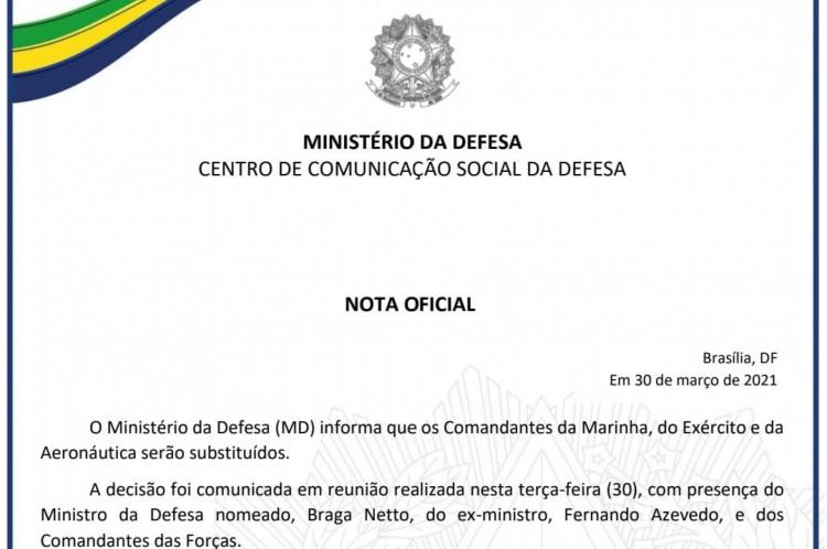 Nota Ministério da Defesa