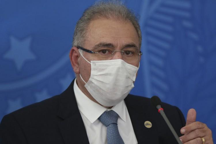 O ministro da Saúde,  Marcelo Queiroga, durante coletiva no Palácio do Planalto (Foto: )