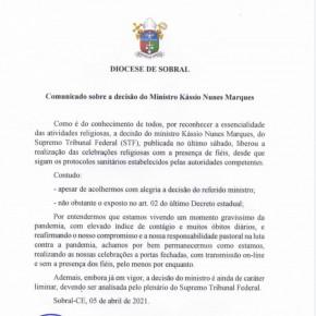 Nota na Diocese de Sobral sobre celebração presencial de missas
