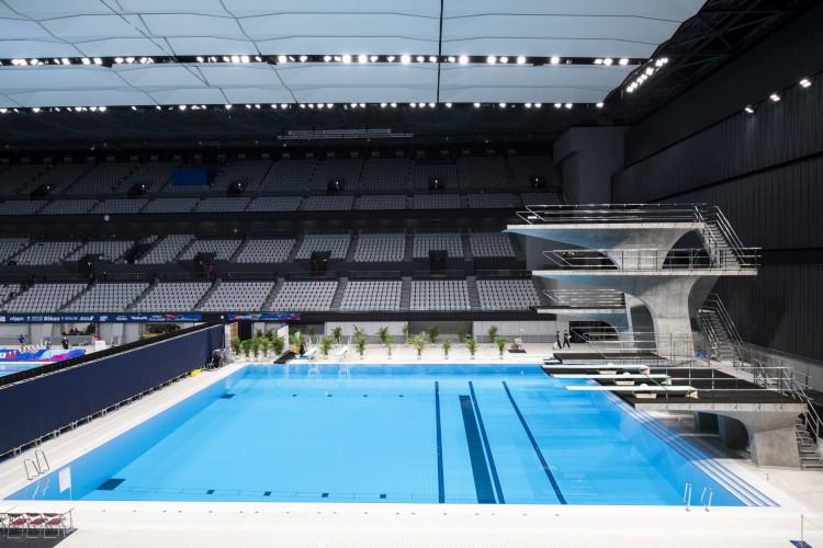 Piscina de mergulho no Centro Aquático de Tóquio - local para natação, mergulho e natação artística nos Jogos Olímpicos e Paraolímpicos de Tóquio em 2020 (Foto: CHARLY TRIBALLEAU / AFP)