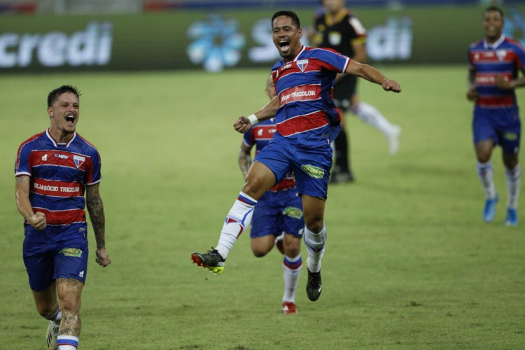 Yago Pikachu comemora primeiro gol com a camisa do Fortaleza em jogo diante do Ypiranga pela Copa do Brasil.  (Foto: FCO Fontenele)