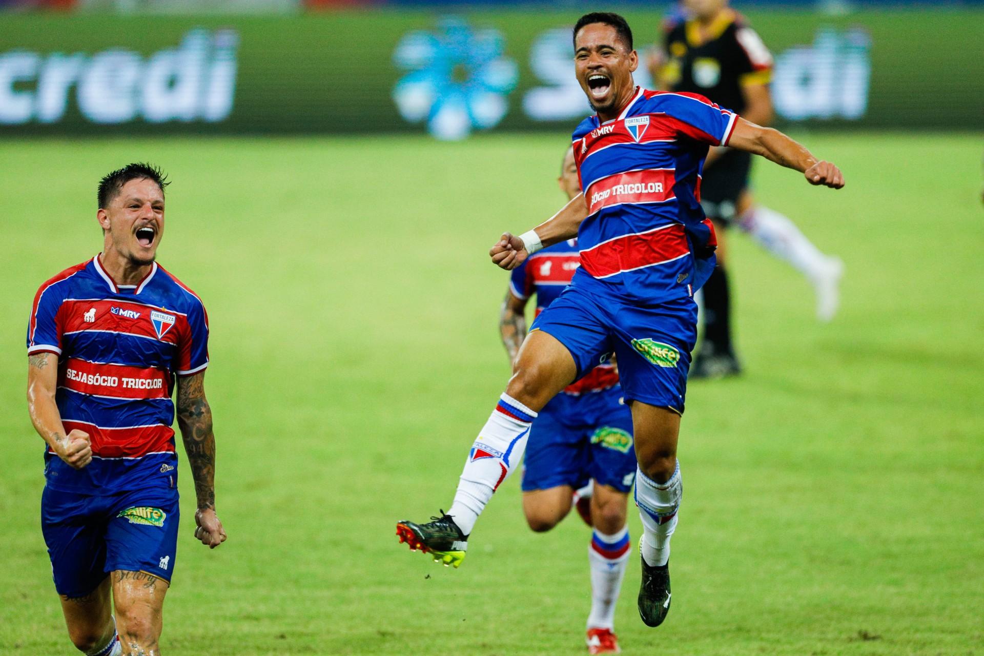 Fortaleza em 6 de abril de 2021, Comemoracao do gol de yago pikachu, na classificacao do Fortaleza em cima do Ypiranga, pela copa do brasil 2021, na arena castelao. (Foto FCO Fontenele)