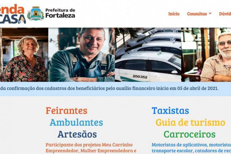 Consulta para receber auxílio ou cesta básica pode ser feita no site Renda em Casa, da Prefeitura de Fortaleza (Foto: Reprodução/ Renda em Casa)