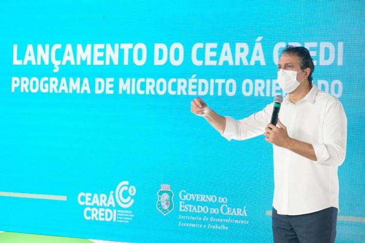 Governador do Estado, Camilo Santana (PT) lança o programa Ceará Credi que fornece linhas de crédito popular para microempreendedores e autônomos  (Foto: Divulgação / Governo do Ceará)