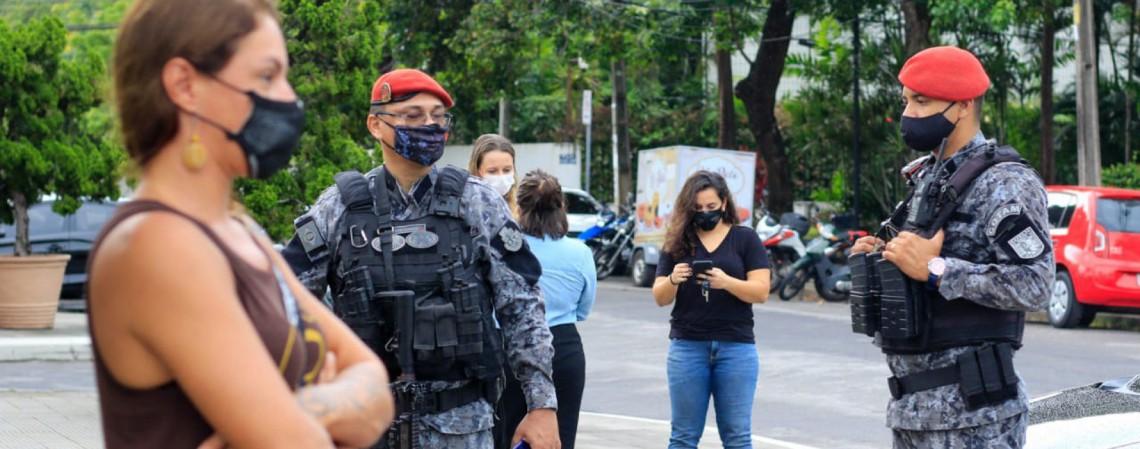 Protesto por reabertura das academias foi dispersado pelo COTAM (Foto: Barbara Moira)
