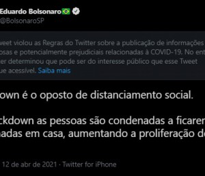 Twitter coloca aviso de 'publicação enganosa' em post de Eduardo Bolsonaro
