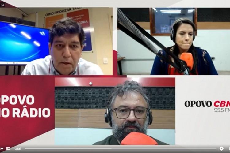 Dr. Cabeto em entrevista aos jornalistas Jocélio Leal e Rachel Gomes (Foto: Facebook/OPOVO CBN)