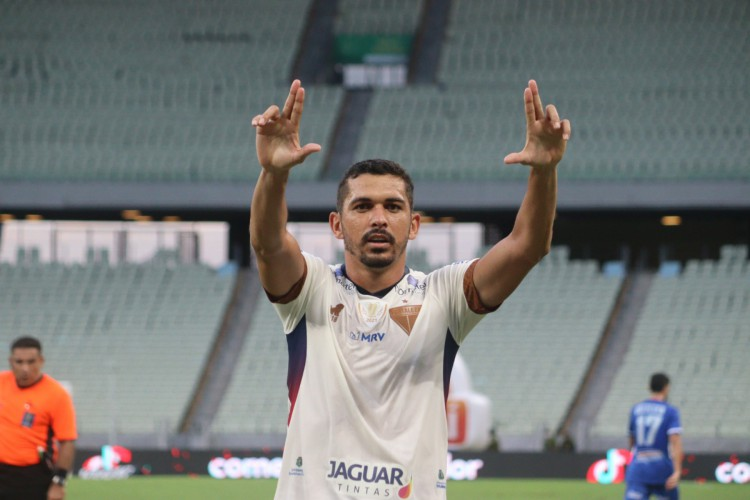 Bruno Melo foi o autor do gol da vitória do Fortaleza por 2 a 1 sobre o CSA-AL, pelas quartas da Copa do Nordeste 2021 (Foto: Leonardo Moreira/Fortaleza EC)