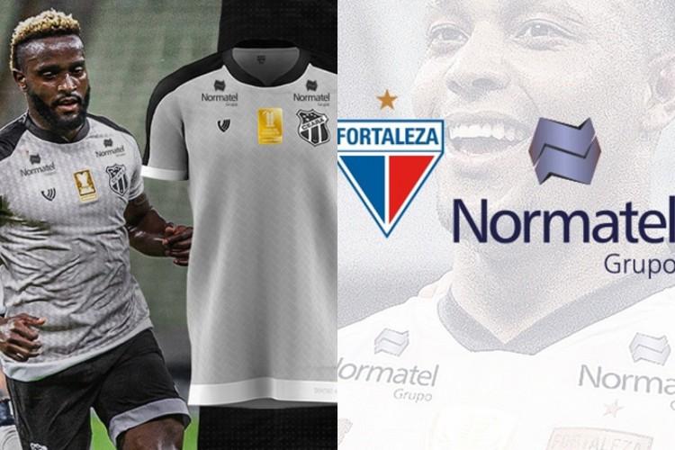 Ceará e Fortaleza irão exibir marca da Normatel na omoplata das camisas em jogos da Copa do Nordeste 2021.  (Foto: Reprodução)