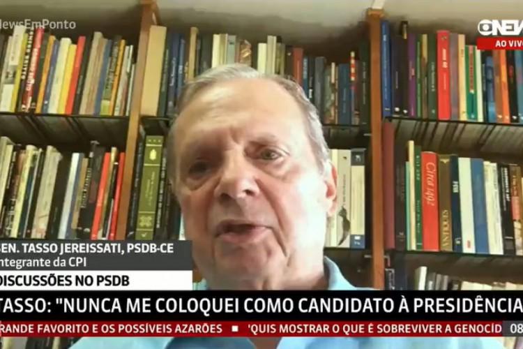 Tasso é entrevistado pela Globonews sobre CPI da Covid (Foto: REPRODUÇÃO)