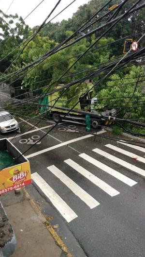 Caminhão de lixo colidiu com árvore na avenida 13 de maio na manhã deste sábado, 24.  (Foto: WhatsApp O POVO)