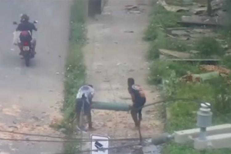 Homens furtaram o cilindro logo após a explosão da fábrica White Martins, em Fortaleza (Foto: Reprodução/ Facebook O POVO Online)
