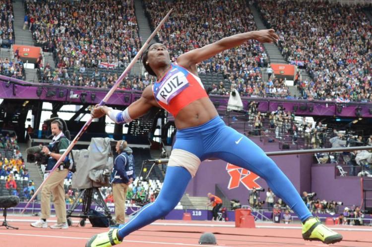 A colombiana Flor Ruiz durante a competição de lançamento do dardo, durante os Jogos Olímpicos de Londres-2012