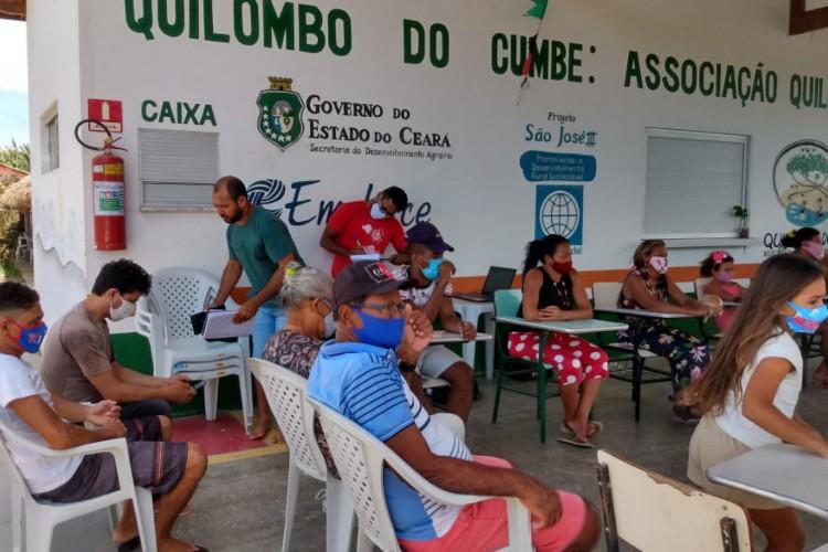 Comunidades quilombolas no Aracati reivindicaram direito sobre a prioridade na vacinação  (Foto: Associação Quilombola do Cumbe/Aracati-CE)