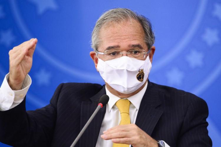 O ministro da Economia, Paulo Guedes, durante pronunciamento sobre preço dos combustíveis e a política de reajustes adotada pela Petrobras. (Foto: Marcelo Camargo/Agência Brasil)