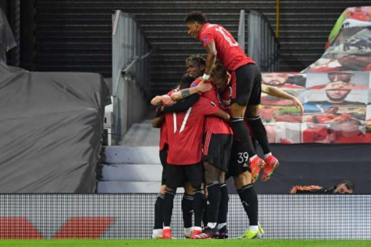 O Manchester United goleou a Roma por 6 a 2 na partida de ida das semifinais da Liga Europa 2020/2021 (Foto: Paul Ellis/AFP)