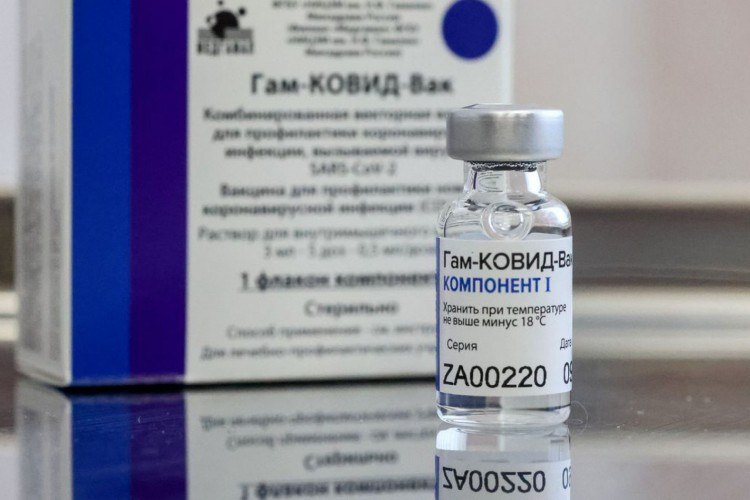 MOSCOW, RUSSIA - DECEMBER 28, 2020: A dose of the Gam-COVID-Vak (Sputnik V) vaccine is on display during vaccination against COVID-19 at Branch No 8 of Moscow's outpatient clinic No 121. Vladimir Gerdo/TASS.No use Russia. (Foto: Vladimir Gerdo/TASS/ Reuters/Direitos reservados)