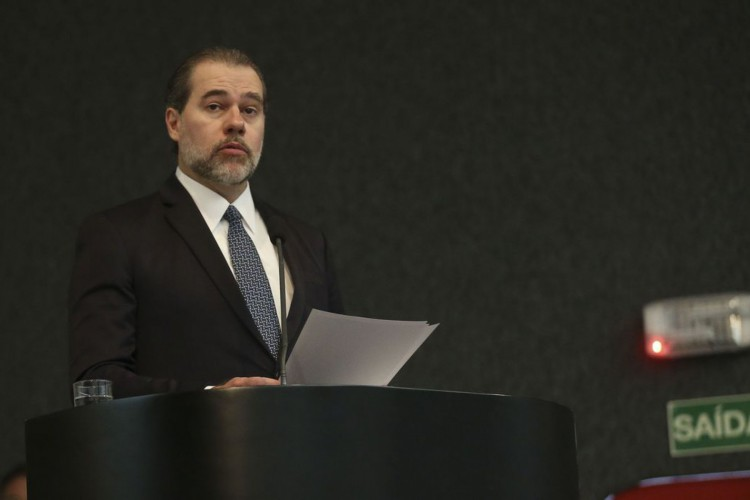 O presidente do Supremo Tribunal Federal (STF) e do Conselho Nacional de Justiça (CNJ), Dias Toffoli participa do VI Seminário de Planejamento Estratégico Sustentável do Poder Judiciário. (Foto: Antonio Cruz/ Agência Brasil)
