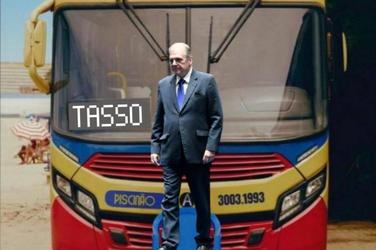 O senador Tasso Jereissati aparece em uma montagem da foto promocional do álbum 'Girl From Rio', da cantora Anitta (Foto: Reprodução perfil PresidenTasso 2022)