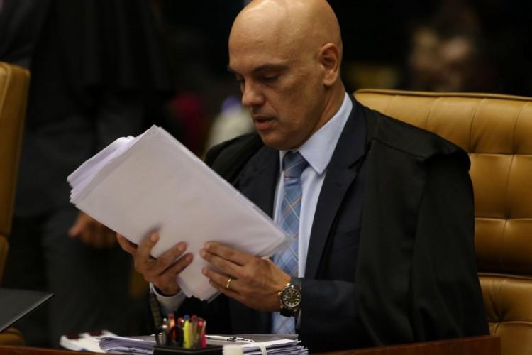 O ministro Alexandre de Moraes, durante sessão de julgamento sobre limite para compartilhamento de dados fiscais (Foto: Fabio Rodrigues Pozzebom/Agência Brasil)