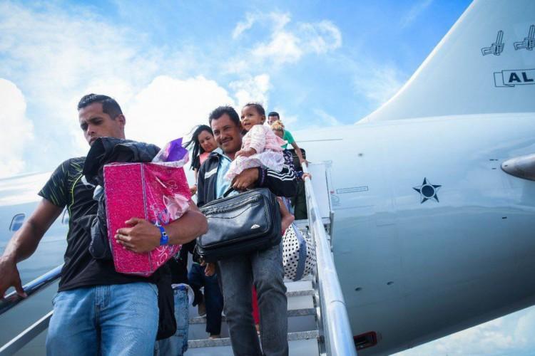 Venezuelanos contemplados pela Operação Acolhida desembarcando. (Acnur / Divulgação) (Foto: Divulgação Acnur)