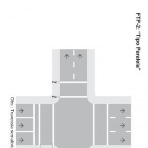 """Sinalização tipo FTP-2: """"Paralela"""", conforme descrição do Manual Brasileiro de Sinalização de Trânsito, aprovado pela resolução número 236 do Conselho Nacional de Trânsito (Contran),"""