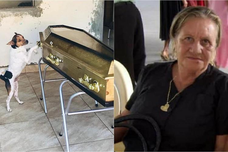 O cachorrinho tentou entrar no caixão com a dona  (Foto: Jailson Santos / Reprodução)