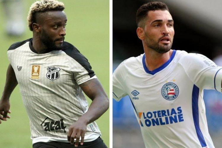 Mendoza e Gilberto são os jogadores com mais participações diretas em gols do Ceará e do Bahia, em 2021 (Foto: FABIO LIMA/O POVO E DIVULGAÇÃO/ECBAHIA)