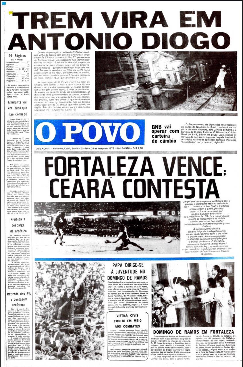 Capa do Jornal O POVO 24/03/1975(Foto: acervo Jornal O POVO)