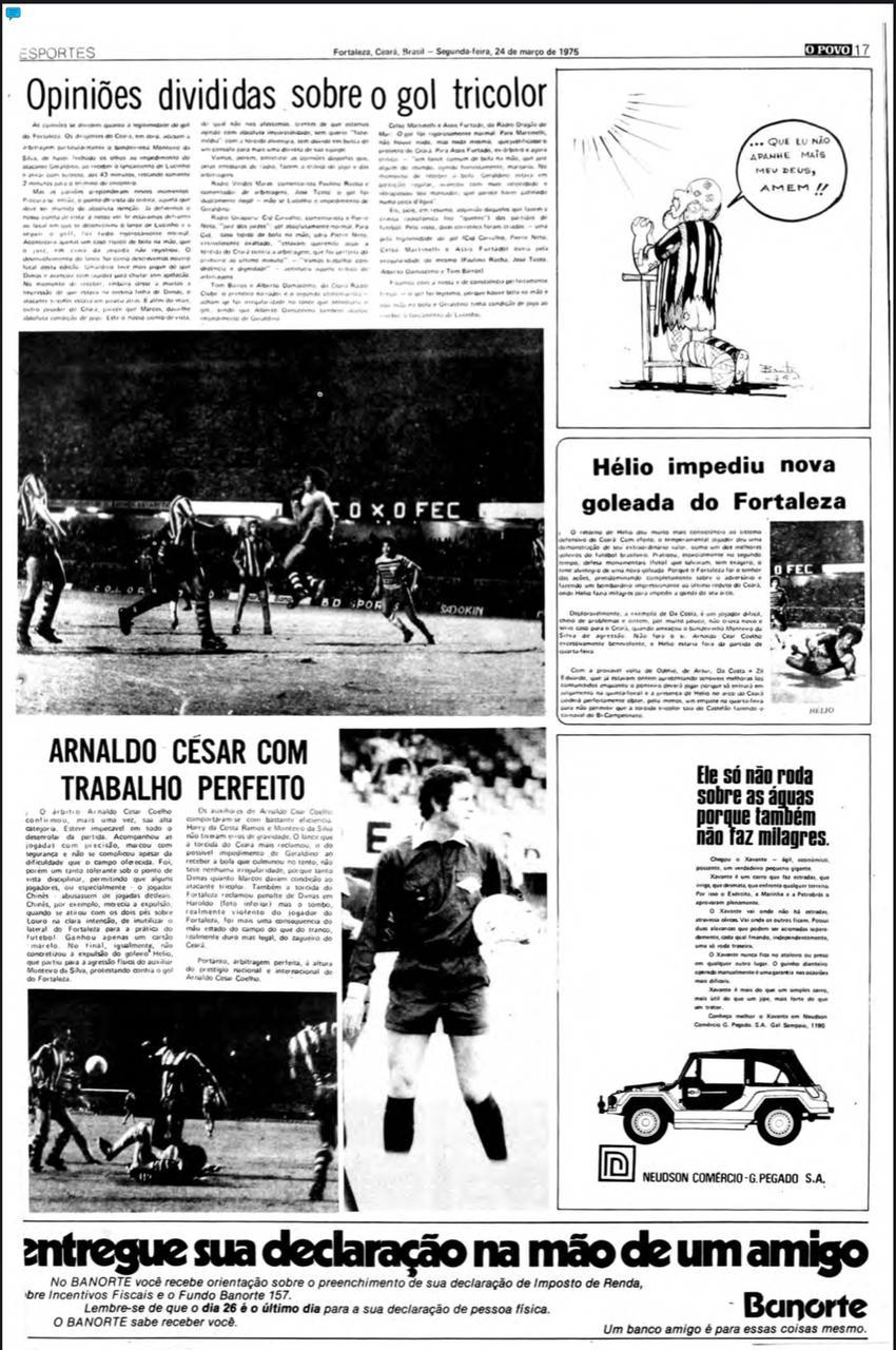 Página 17 do caderno de Esportes do O POVO 24/03/1975(Foto: acervo Jornal O POVO)