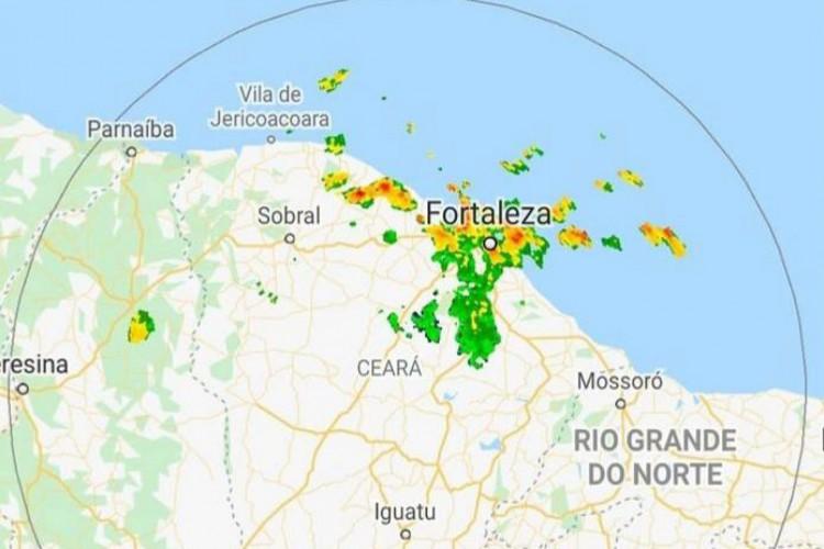 Radar de chuvas Funceme. (Foto: Reprodução/ Funceme)