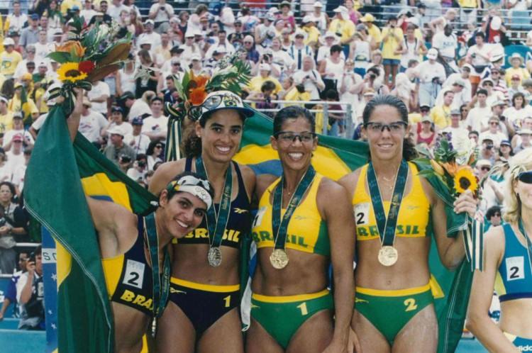 As quatro medalhistas da Olimpíada de Atlanta, em 1996