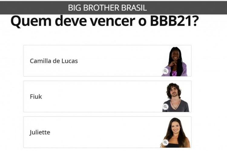 Votação no Gshow segue aberta. Juliette, Fiuk e Camilla disputam R$ 1,5 milhão no BBB 21. Saiba como votar na enquete (Foto: Reprodução/ Gshow)