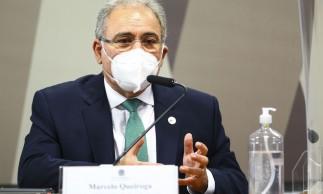 O ministro da Saúde, Marcelo Queiroga, durante sessão da CPI da Pandemia, no Senado.