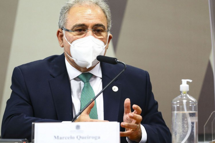 O ministro da Saúde, Marcelo Queiroga, durante sessão da CPI da Pandemia, no Senado. (Foto: Marcelo Camargo/Agência Brasil)