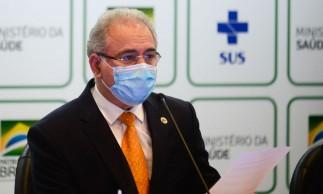 O ministro da Saúde, Marcelo Queiroga, durante anuncio do plano de vacinação de atletas e credenciados da Delegação Brasileira para os jogos de Tóquio.