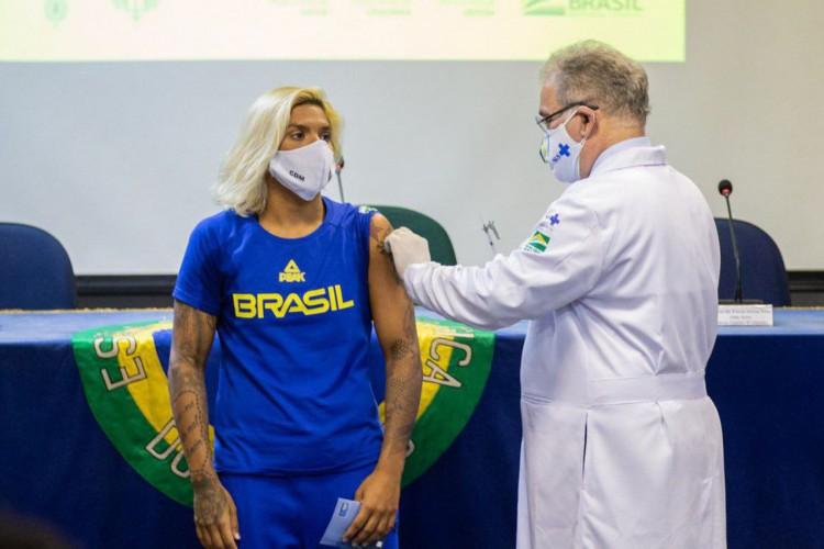 COB (Comitê Olímpico Brasileiro) divulgou que 75% dos atletas estão imunizados  (Foto: Miriam Jeske/COB)