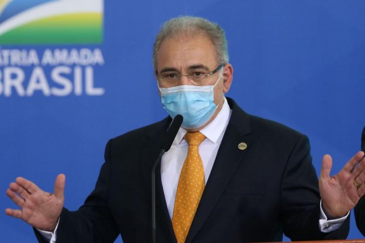O ministro da Saúde, Marcelo Queiroga,  participa de Cerimônia de Liberação de Recursos para Atenção Primária à Saúde no Enfrentamento da Covid-19 (Foto: Fabio Rodrigues Pozzebom/Agência Brasil)