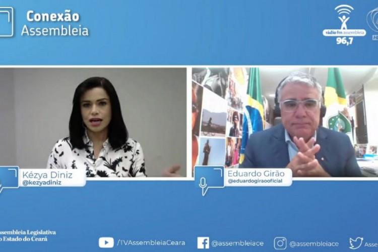 concedeu entrevista ao programa Conexão Assembleia, apresentado pela jornalista Kézya Diniz. (Foto: Reprodução/YouTube TV Assembleia)