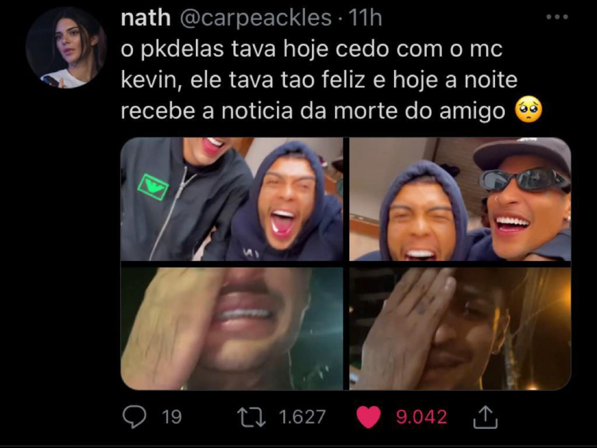 Usuários do Twitter comentam a morte de MC Kevin e a reação de pessoas próximas ao funkeiro.