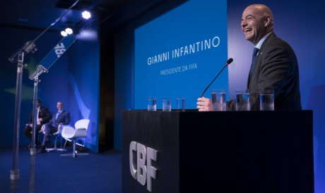 Presidente da Fifa, Gianni Infantino, durante discurso na sede da CBF, no Rio de Janeiro