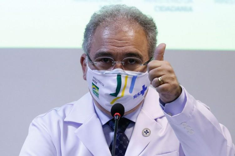 Rio de Janeiro - O ministro da Saúde Marcelo Queiroga, fala da vacinação dos atletas olímpicos brasileiros para os jogos de Tóquio, no Japão.(Fernando Frazão/Agência Brasil) (Foto: Fernando Frazão/Agência Brasil)