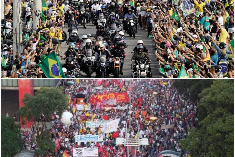 Manifestações pró e contra Bolsonaro marcaram as últimas semanas no País (Foto: ANDRE BORGES/AFP  RONALDO SILVA/AE)